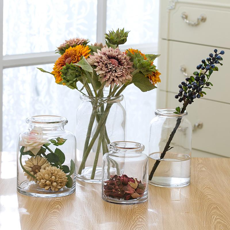 欧式现代简约圆口玻璃花瓶创意透明插花日式花器水培