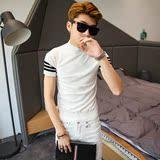 振轩衣阁 韩国时尚青年针织短袖 男个性袖子条纹半高领毛衣 潮