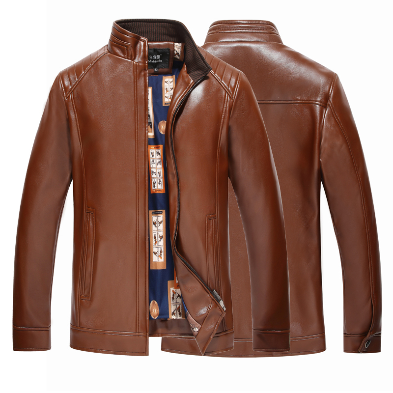 2017春秋冬款男士中年加绒加厚立领爸爸装商务休闲皮夹克宽松外套