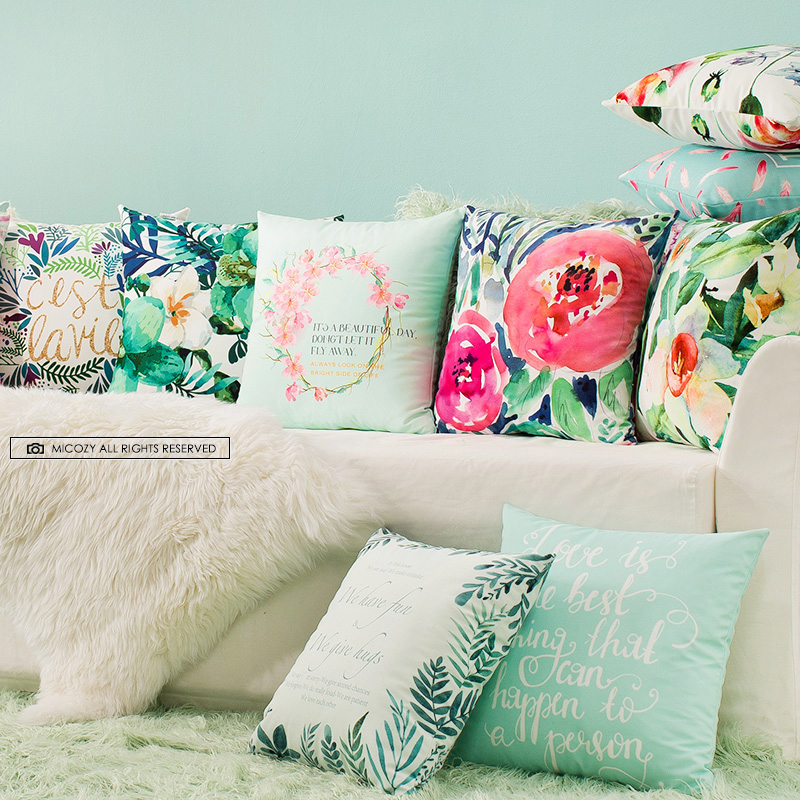 創意靠背靠墊汽車沙發辦公室超柔絨清新田園花卉床頭