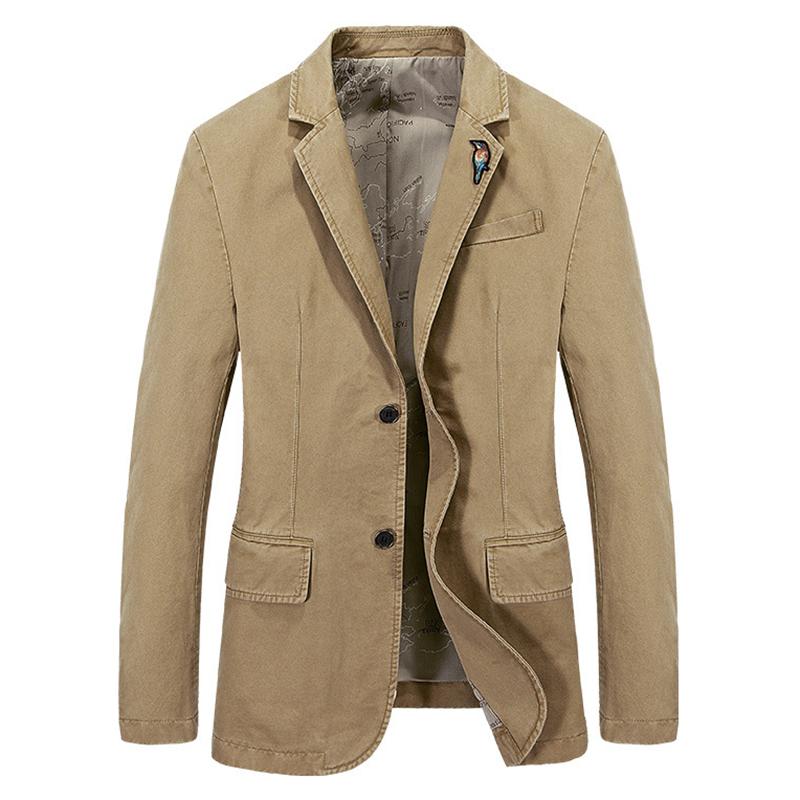 战地吉普休闲西服男中年男士修身纯棉便西爸爸装单西小西装外套