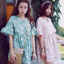 夏季韩版小清新复古碎花短袖娃娃衫甜美露背V领宽松荷叶袖连衣裙