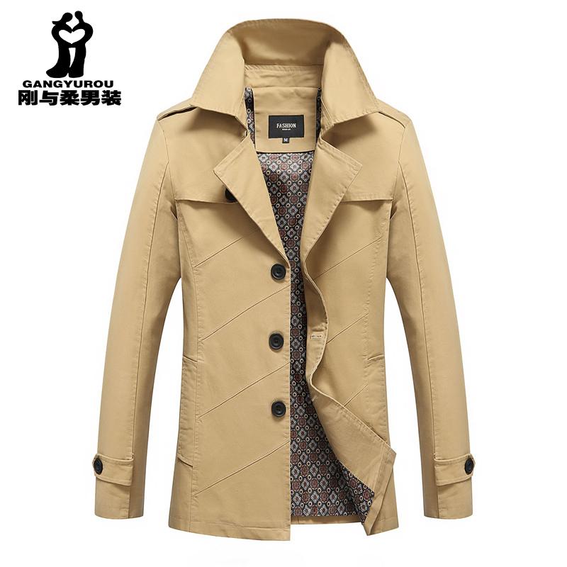 男装夹克衫韩版修身中长款外套青年大码商务休闲风衣纯棉外穿衣服