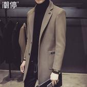 潮停男士风衣2017秋冬季韩版修身型中长款外套男装披风毛呢子大衣