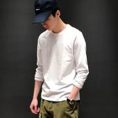 原创春季韩版内搭休闲打底衫日系纯色简约T恤复古潮流圆领长袖男