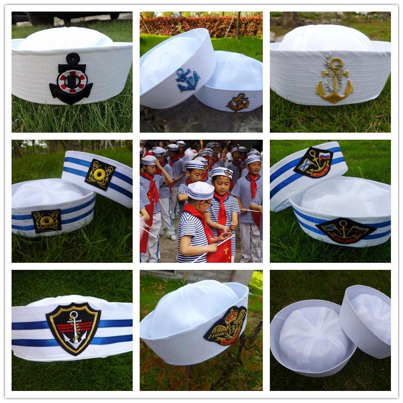 小学生幼儿园舞台表演出帽子儿童海军水手帽白色成人男女水兵军帽