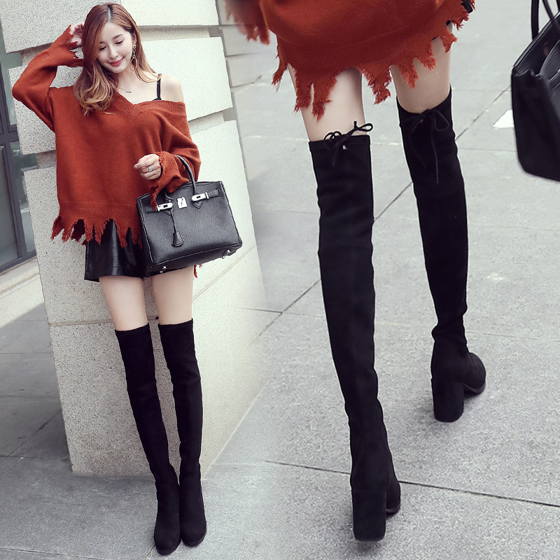 过膝长靴女高筒靴2017新款秋冬季加绒棉鞋马靴高跟粗跟长筒靴子女