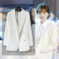 2016秋明星同款外套修身礼服休闲小西装女白色西服白领聚会上衣