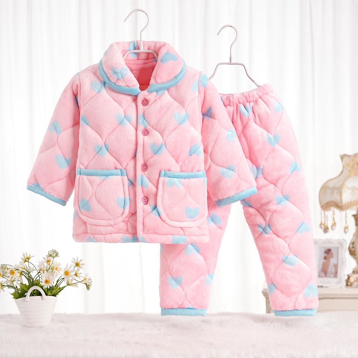 秋冬季儿童法兰绒睡衣女童女孩男童珊瑚绒套装小孩宝宝夹棉加厚款
