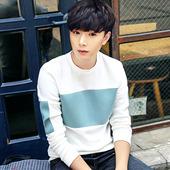 【2件】男士卫衣秋装新款韩版修身长袖t恤衣服潮男装圆领体恤外套