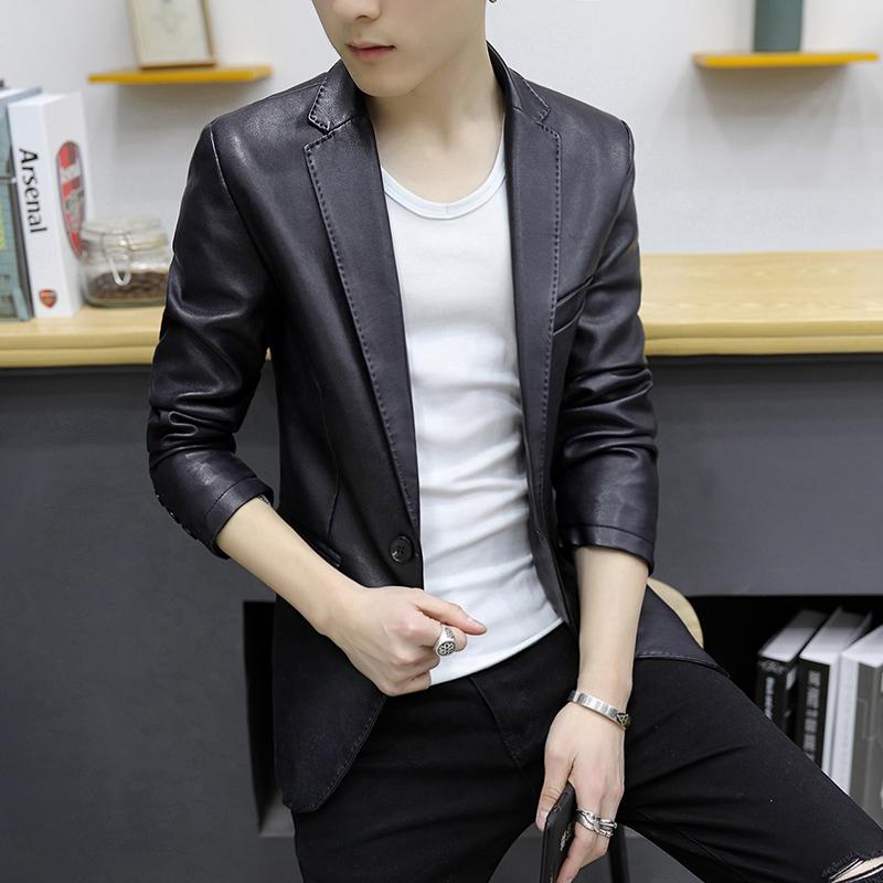 皮西服男修身韩版春休闲小西装男士青年外套便装pu皮衣薄款男上衣