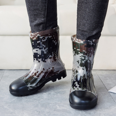 秋冬新款男雨鞋胶鞋男士保暖加绒雨靴水鞋套鞋中筒防水防滑钓鱼鞋