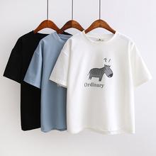 天天特价夏季新款韩版印花学院风体恤短袖女纯棉宽松显瘦T恤上衣