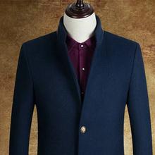 男毛呢外套中老年男士羊毛呢大衣外套 高档商务修身男装 特价清仓
