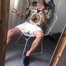 韩国男欧美大牌个性花衬衫修身套头百搭七分袖 V领免烫英伦花衬衫