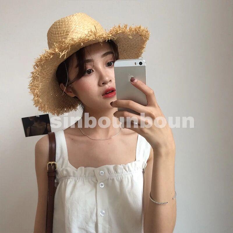 自制上衣边裙摆吊带背心夏季扣收腰甜美可爱木耳休闲单排
