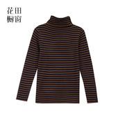 花田橱窗T359百搭基础款高领修身横条纹长袖套头毛衣针织衫女秋冬