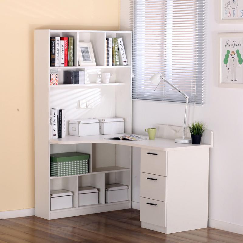 芬格美家转角书桌电脑桌简约白色欧式书桌书架组合桌