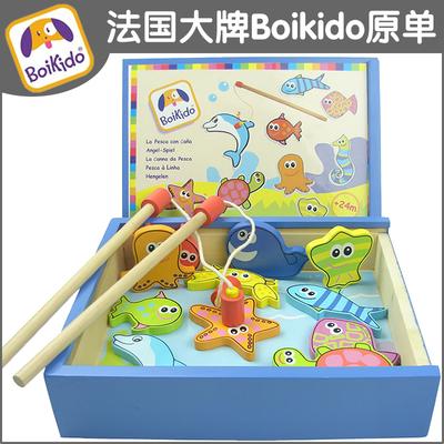 高档小猫钓鱼套装木制磁性大号宝宝益智玩具1-3-2岁 儿童钓鱼玩具