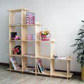 特价实木简易书架10格子架置物架 厨房层架收纳架 储物架展示架