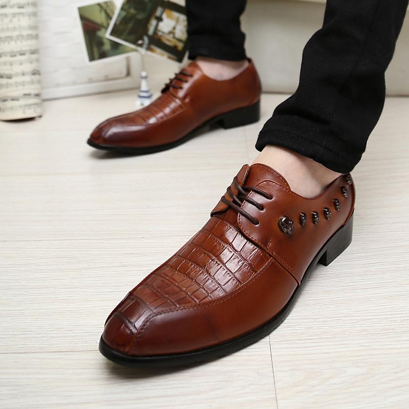 韩版潮鞋 英伦日韩流行男鞋 尖头皮鞋 男士休闲皮鞋 内增高真皮鞋
