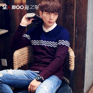 2015秋冬新款V领韩版修身男士针织衫