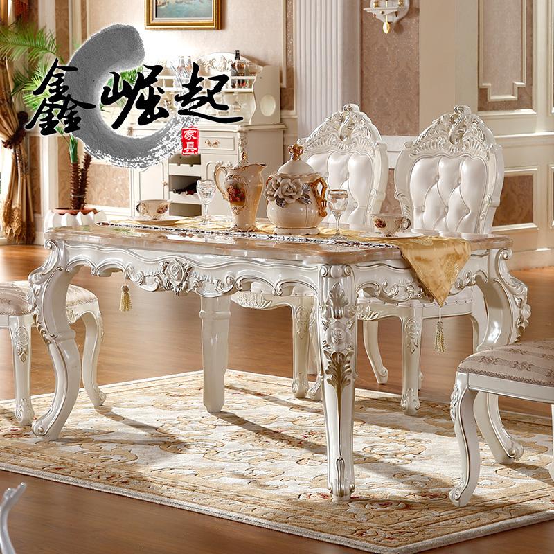 欧式实木餐桌 小户型大理石餐桌椅组合长方形