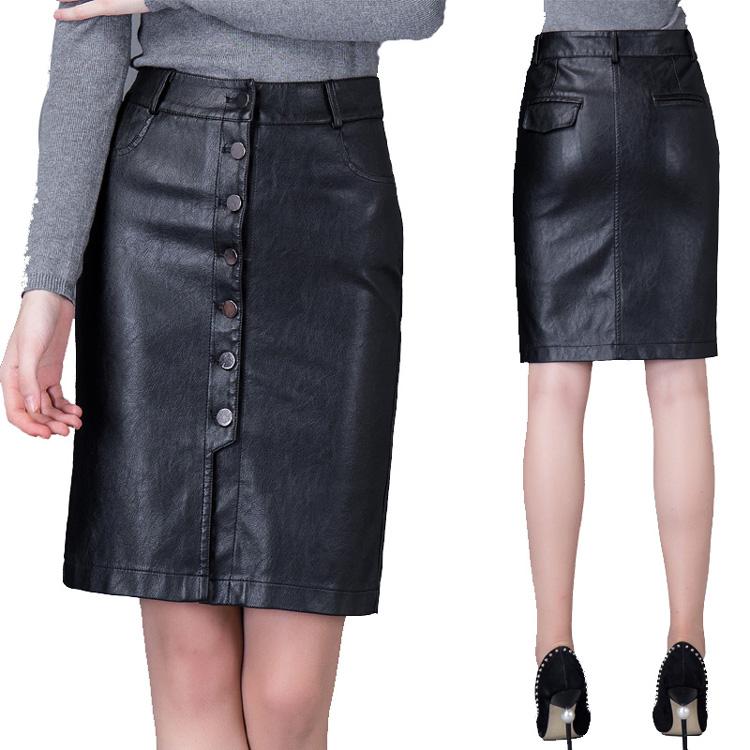 2016秋冬季白领都市女装新款女士黑色前扣PU皮短裙包臀提臀半身裙