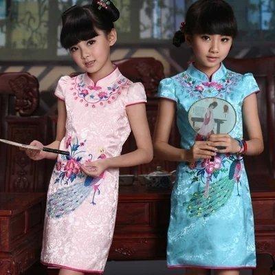 女童连衣裙夏季 中国民族风中大童短袖旗袍唐装  儿童古筝演出服