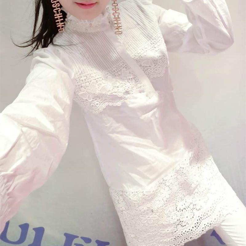 2017春装新款韩版女装钉珠连衣裙女长袖中长款衬衫修身蕾丝衬衫裙