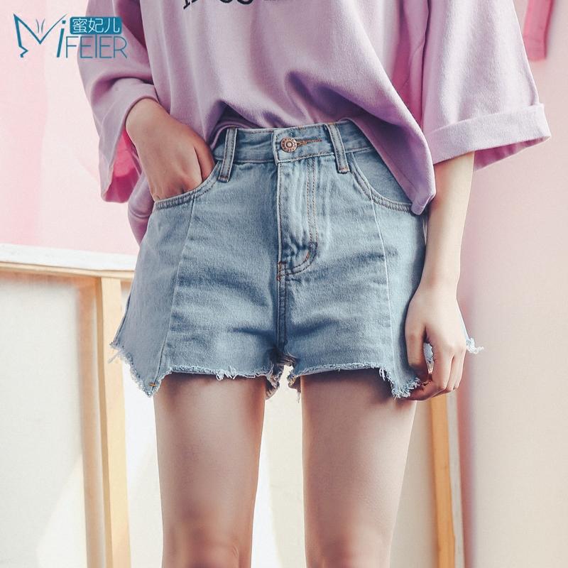 蜜妃兒2017夏季新款女裝韓版高腰牛仔短褲女夏熱褲顯瘦不規則下擺