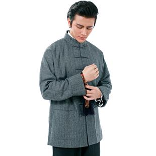装新款春秋男长袖真丝羊毛中式高档宴会礼服中