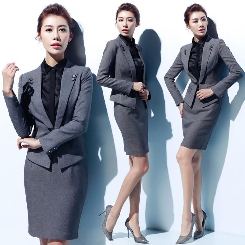 艾尚臣OL职业装女秋冬2017气质套装三件套女士正装西装长袖工作服
