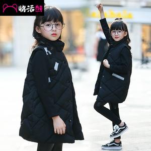 快活熊童装2016秋冬女童儿童马甲百搭中大童外套韩版学生长款棉衣