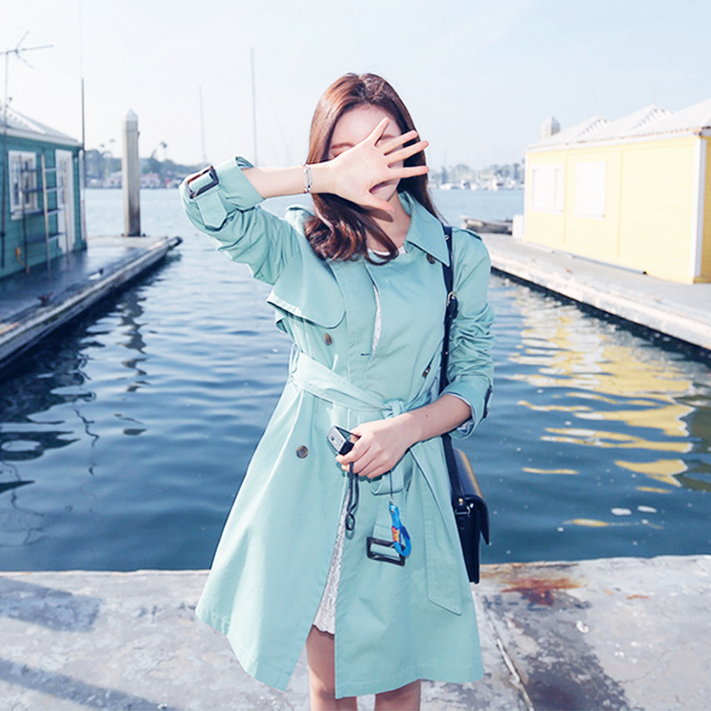 jy2015秋季女装韩版新款气质修身中长款甜美双排扣风衣女外套潮