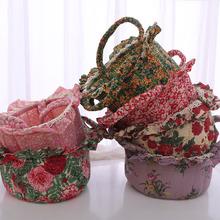 新款家居创意礼品韩式全棉绗缝布艺蕾丝花边内衣袜子收纳筐收纳篮