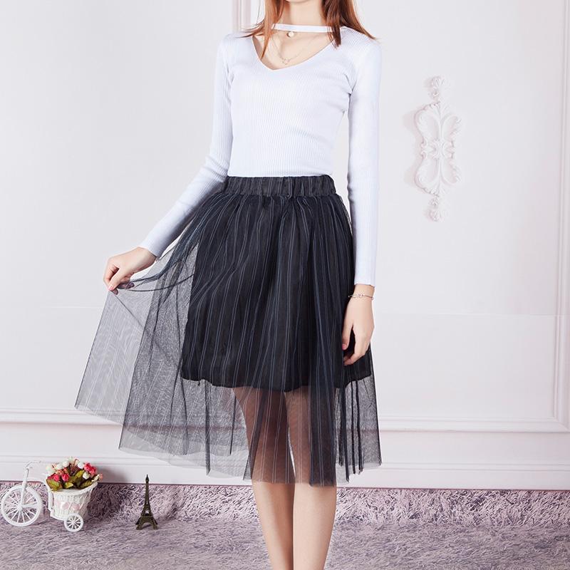 半身長款蓬蓬紗裙網紗中字顯瘦傘裙 百褶 高腰夏季