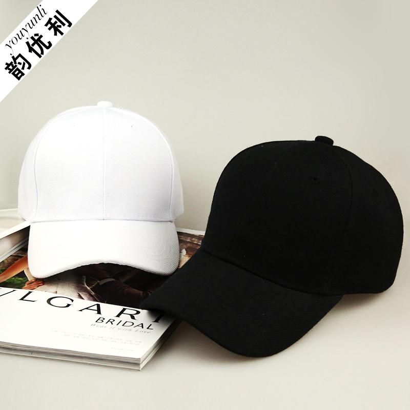 帽子纯色棒球帽黑色鸭舌帽女秋男女士情侣嘻哈街舞休闲夏季遮阳帽