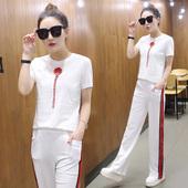 2017夏季新款韩版休闲运动服套装女夏天时尚宽松短袖长裤两件套潮