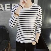上衣服潮黑白色条纹打底衫 圆领长袖 韩版 t恤青少年学生春季装 男士