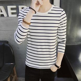 男士圆领长袖t恤青少年学生春季装上衣服潮黑白色条纹打底衫韩版