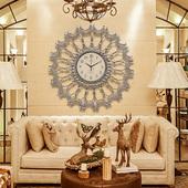 钟表挂钟客厅创意欧式复古奢华大号圆形艺术静音挂表卧室装饰时钟