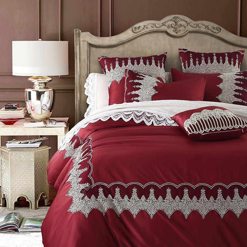 奥奇花语欧式奢华美式风格婚庆四件套六九件套加宽蕾丝花边床品