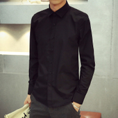 男士修身纯黑色衬衫长袖男式青少年韩版衬衣休闲百搭男装潮流学生