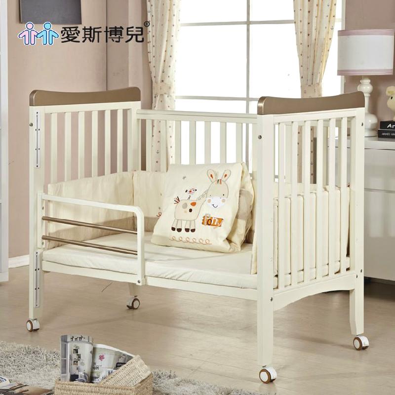 实木婴儿床欧式松木环保漆儿童床白色出口多功能宝宝