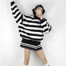 2016原宿风学生条纹外套韩版中长款半高领宽松套头长袖加绒卫衣女