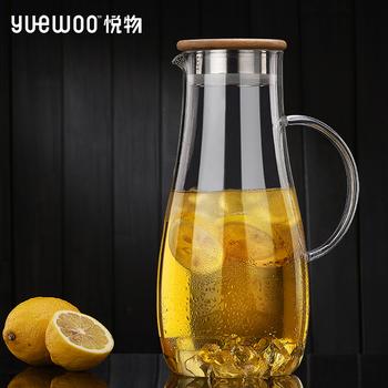 悦物玻璃凉水壶家用木盖冷水壶耐
