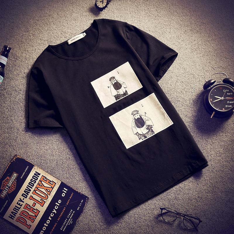 京剧人物短袖T恤男加肥加大码中国风半袖潮胖子宽松体恤薄款夏季