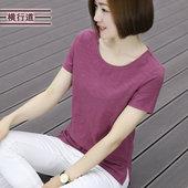 夏装纯竹节棉韩版半袖打底衫短袖女t恤夏季大码宽松体恤圆领上衣