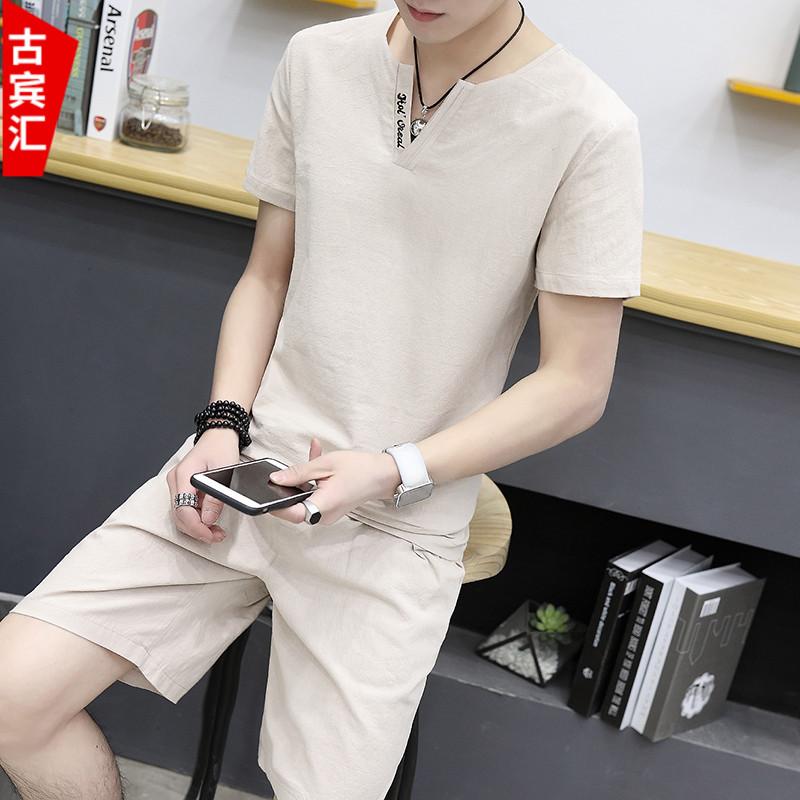 麻風修身青少年潮流套裝體恤夏季短褲純棉短袖